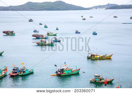 traditional colorful vietnamese fishing boats in Nam Du island, Kien Giang, Vietnam