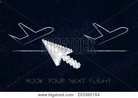 Airplane Icons Wth Cursor About To Select One Of The Flights