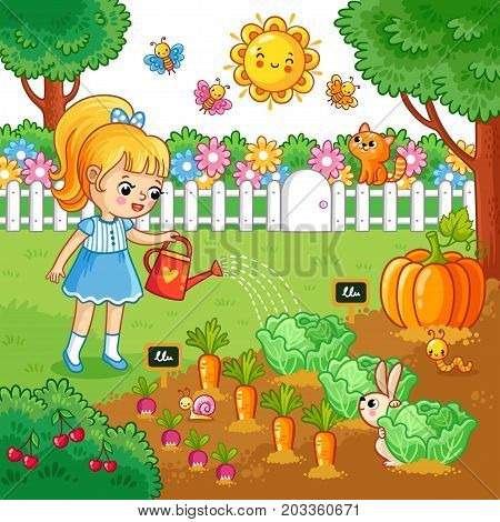 Girl Watering Garden Vector & Photo (Free Trial) | Bigstock