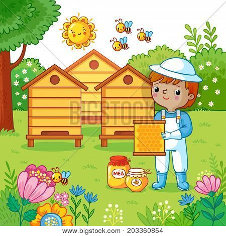 Boy collects honey on a bee apiary. Vector illustration in childrens cartoon style.