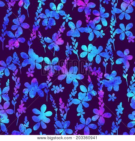 seamless pattern with brush flowers and leaf. Blue watercolor color on violet background. Hand painted grange texture. Ink forest elements. Fashion modern style. Endless fabric print. Unusual and teen