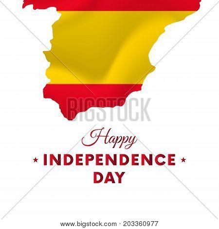 Banner or poster of Spain independence day celebration. Spain map. Waving flag. Vector illustration.