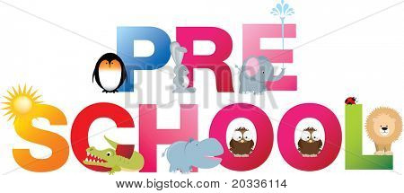 The word pre-school made up from alphabet cartoon letters with matching animals and objects