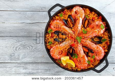 Seafood Valencia Paella With King Prawns