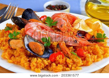 Spain Paella With King Prawns, Mussels