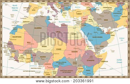 Retro color map of Northern Africa and the Middle East