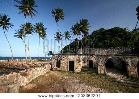 Walls Fort In Morro Do Sao Paulo, Bahia. Brazil