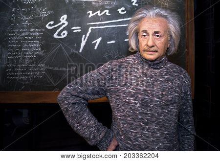 Berlin - March 2017: Albert Einstein wax figure in Madame Tussaud's museum