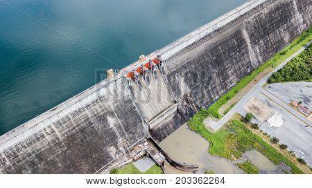 Dam Gate Of Khun Dan Prakan Chon Dam In Nakonnarok Province