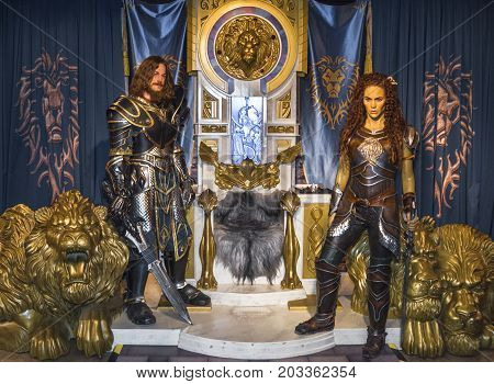 Berlin - March 2017:   Warcraft personages wax figures in Madame Tussaud's museum