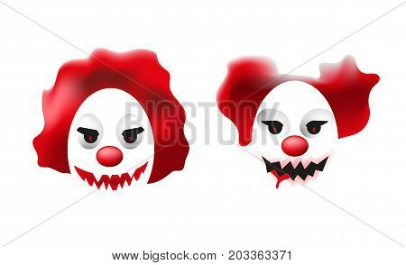 Two Faces Of Scary Clowns. Creepy Mosters Illustration. Halloween Horror Characters
