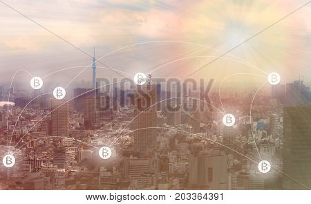 Blockchain and Bitcoin concept : Cityscape with bitcoin symbols connecting altogether.