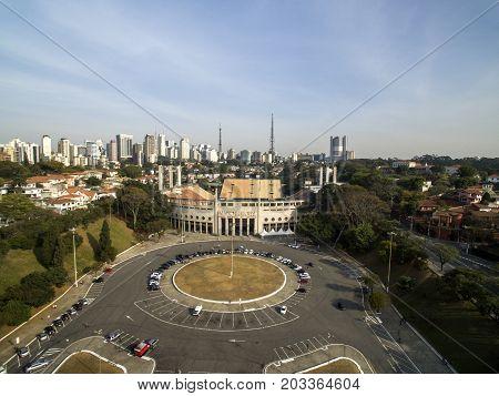 Sao Paulo, Sp, Brazil, August, 2017. Aerial View Of The Municipal Stadium Of Pacaembu, Called Paulo