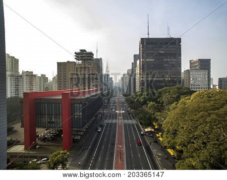 Sao Paulo Brazil August 2017. Aerial view on Paulista Avenue in Sao Paulo city