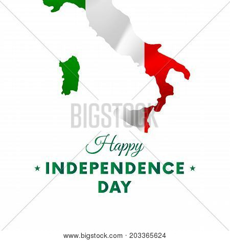 Banner or poster of Italy independence day celebration. Italy map. Waving flag. Vector illustration.
