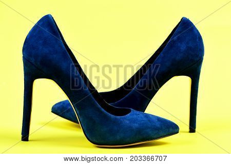 Suede High Heel Shoes As Fashion And Beauty Concept