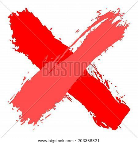 Red Criss Cross Brushstroke Delete Sign