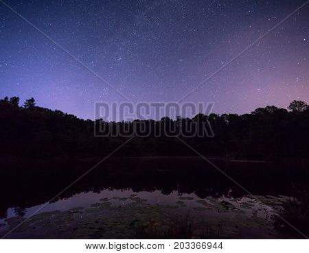 Starry Sky Over The Marsh, The Milky Way Over The Water