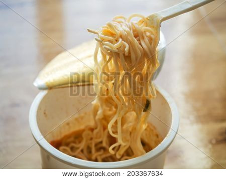 A Cup Of Instant Noodle Ready To Eat