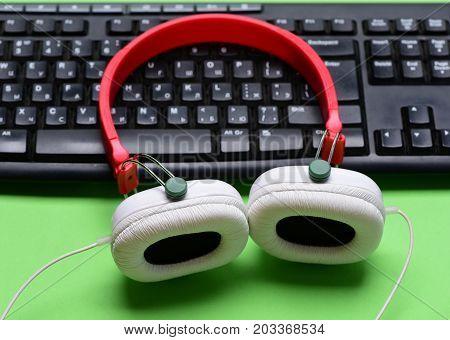 Sound Recording Idea. Headphones And Black Keyboard