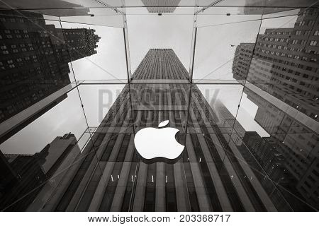 Apple Store Logo At The Entrance To The Apple Store