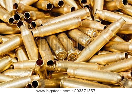 Empty Bullets. Macro photo of bullets for background.