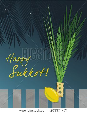 Sukkot Festival greeting card design vector template. Greeting text Happy Sukkot. Traditional Jewish Sukkot holiday four species of fruit & herbs in Sukkah on holiday eve. Layered editable design.