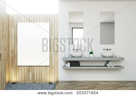 Wooden Bathroom, Double Sink, Poster