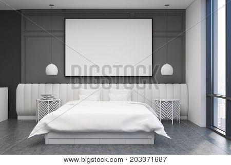 Gray Bedroom Interior, Poster