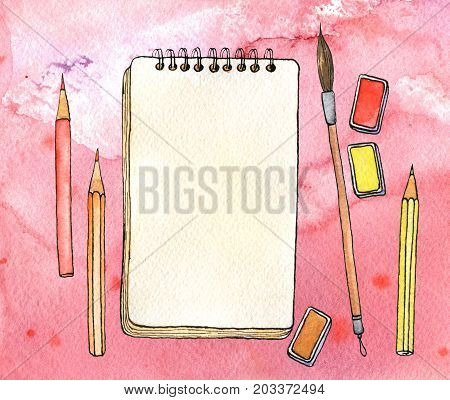 watercolor artistic workspace, hand drawn mock up, sketchbook, brushes and pencils at red background, painting illustration