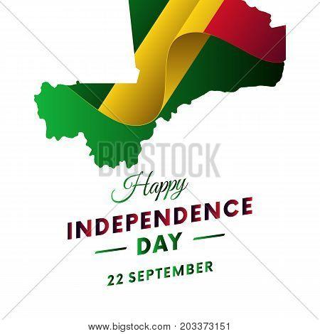 Banner or poster of Mali independence day celebration. Mali map. Waving flag. Vector illustration.
