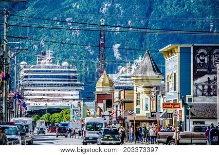 June 2017 Skagway Alaska - street view with cruise ship and mountain in skagway alaska
