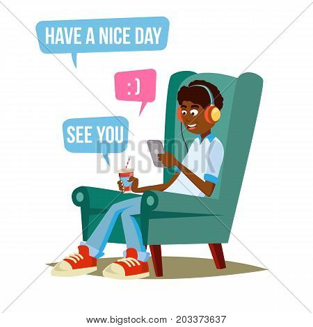 Teen Boy Vector. Happy Boy Talking, Chatting On Network. Devices And Social Media Addiction. Isolated Flat Cartoon Character Illustration