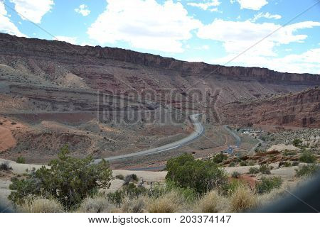 Moab fault line is a section of exposed fault (where 2 tectonic plates meet) runs along the highway near the entrance to Arches national park