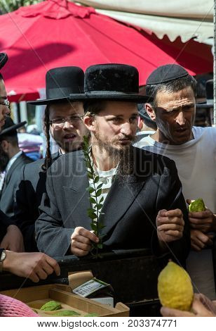 JERUSALEM, ISRAEL - OKTOBER 16, 2016: Traditional market before the holiday of Sukkot. Ancient Jewish holiday Sukkot. The buyer in a black hat chooses a citrus - etrog