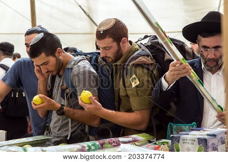ERUSALEM, ISRAEL - OKTOBER 16, 2016: Traditional market before the holiday of Sukkot. Young men - Jews in knitted skullcaps choose etrog at a counter