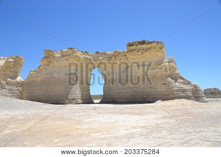 Monument Rocks are a series of large chalk formations in Gove County, Kansas