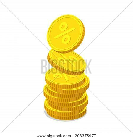 Stack of gold coins with percent signs on white background. Coins is falling from the top so stack is increasing. Income concept