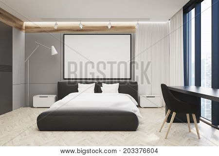 Gray And White Bedroom, Large Poster