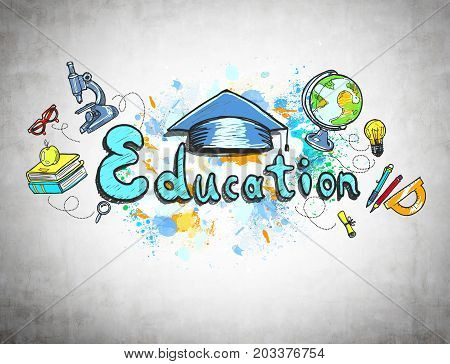 Colorful education sketch with a microscope a globe book and school supplies is drawn on a concrete wall. Concept of knowledge.