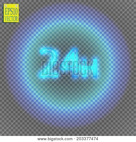 twenty four seven concept open all days.Illustration of Vector Neon Sign. Open 24 Hours Glowing Neon Frame on transparent background. 24 7. Vector