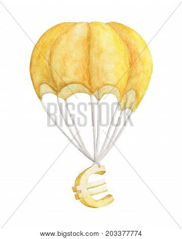 Golden euro is flying on a parachute. watercolor illustration