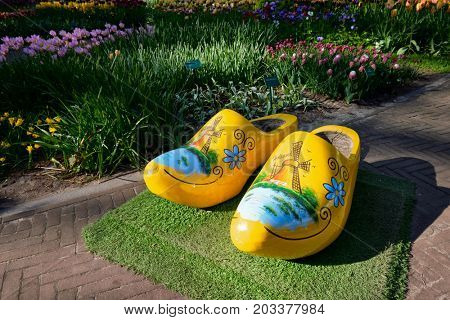 KEUKENHOF, NETHERLANDS - MAY 9, 2017: Traditional wooden clogs klompen shoes in Keukenhof flower garden, one of the world largest flower gardens and popular tourist attraction. Lisse, the Netherlands.