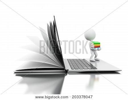 3D Open Book Turns Into An Open Laptop With White People