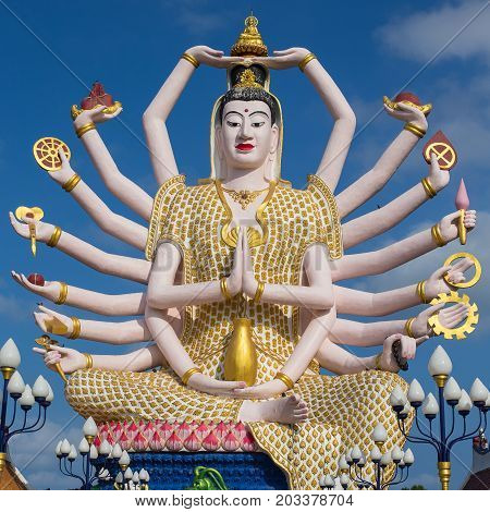 Wat Plai Laem temple with 18 hands God statue Guan Yin Koh Samui Surat Thani Thailand.