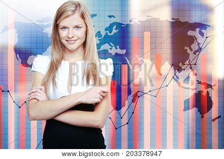 Portrait of attractive young woman standing on abstract background with map and business chart bars on grid. Forex concept. Double exposure