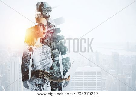 Abstract image of thoughtful woman and businessman on bright city background with sunlight and copy space. Think concept. Double exposure