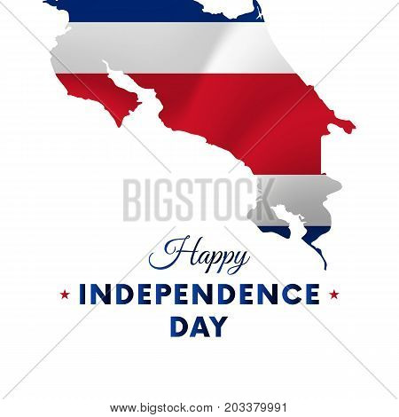Banner or poster of Costa Rica independence day celebration. Costa Rica map. Waving flag. Vector illustration.
