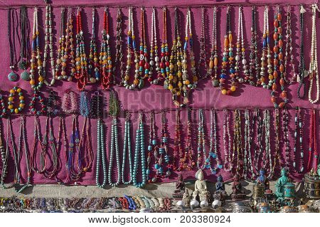 Asian hand made souvenirs made with local craftsman and being sold at the market in Kathmandu Nepal . Close up