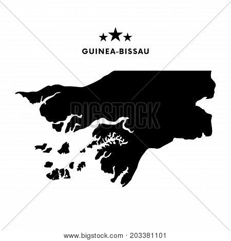 Guinea Bissau map. Stars and text. Vector illustration.